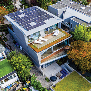 home with solar panel rooftop