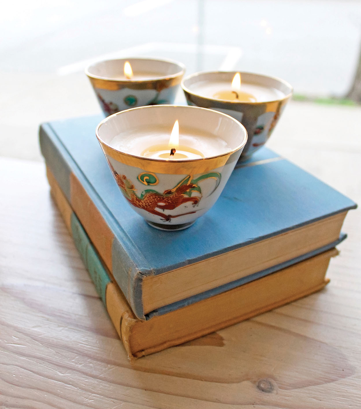 candles on books